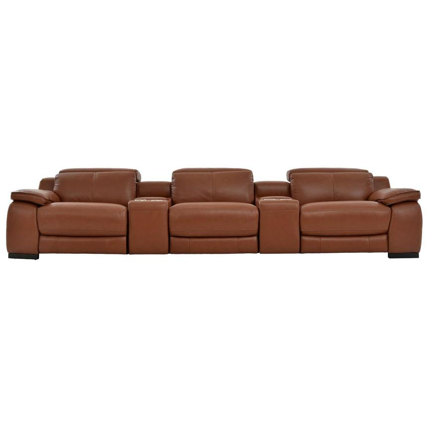 Gian Marco Tan Home Theater Leather Seating  main image, 1 of 9 images.