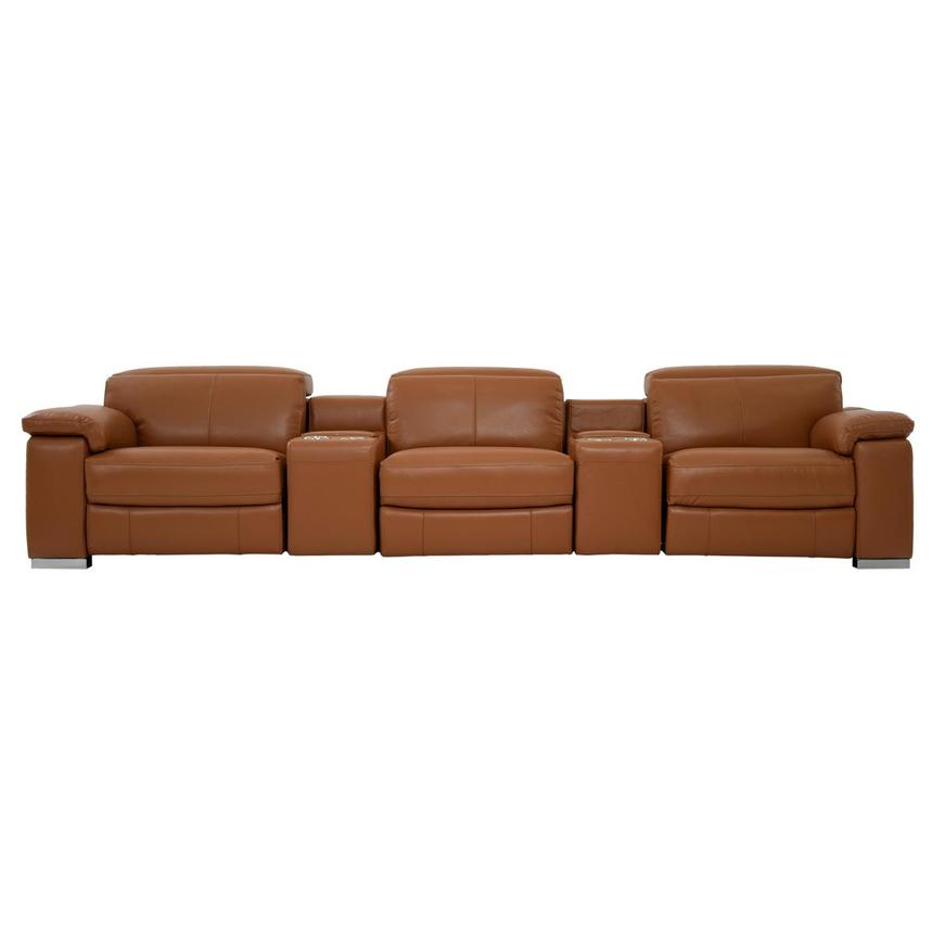 Charlie Tan Home Theater Leather Seating  main image, 1 of 12 images.