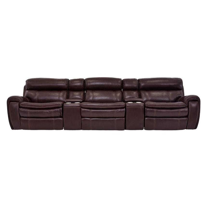 Napa Burgundy Home Theater Leather Seating  main image, 1 of 8 images.