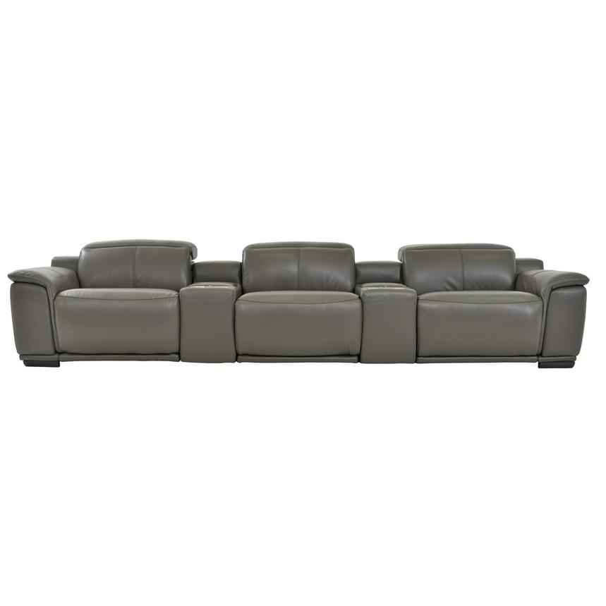 Davis 2.0 Dark Gray Home Theater Leather Seating  main image, 1 of 8 images.