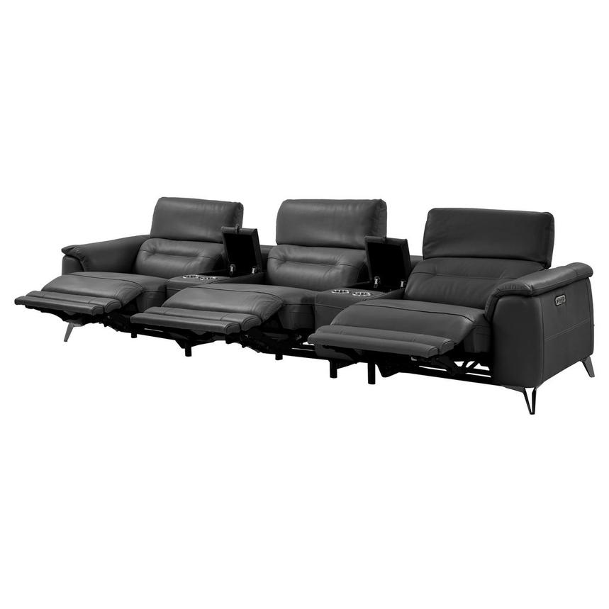 Anabel Gray Home Theater Leather Seating  alternate image, 5 of 12 images.