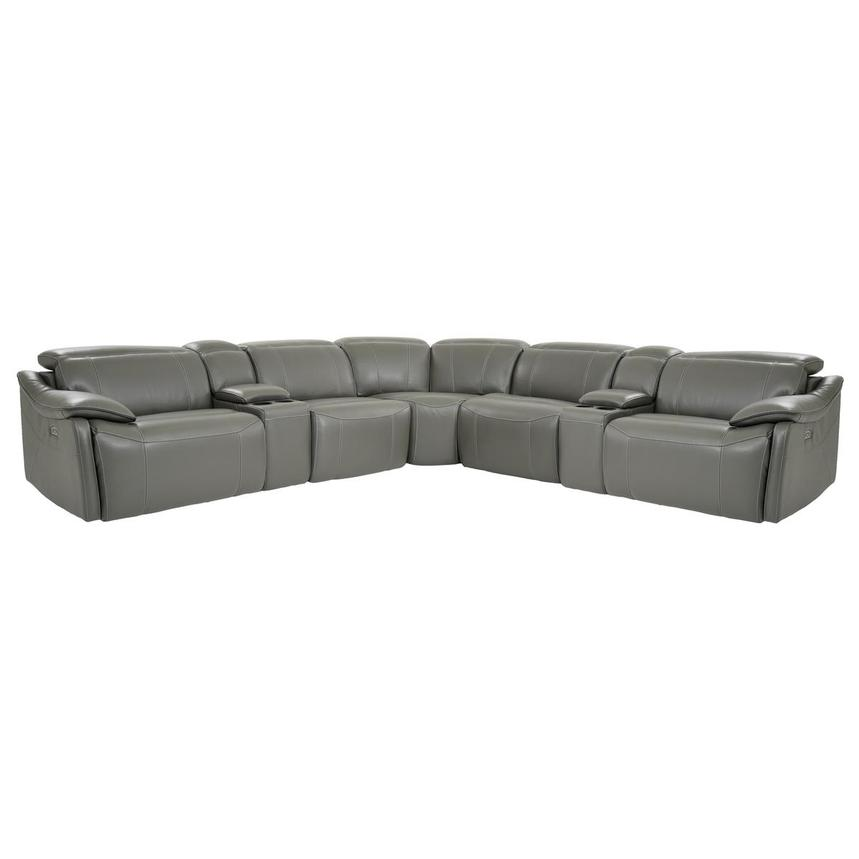 Austin Dark Gray Power Motion Leather Sofa w/Right & Left Recliners ...