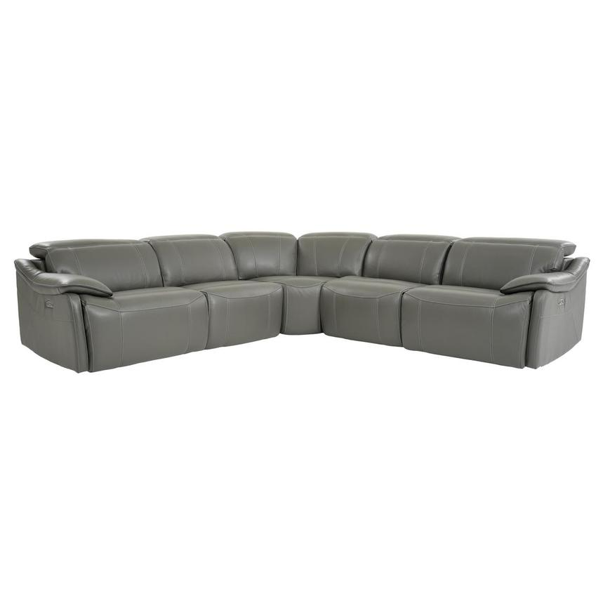 Austin Dark Gray Power Motion Leather Sofa w/Right & Left Recliners  main image, 1 of 8 images.