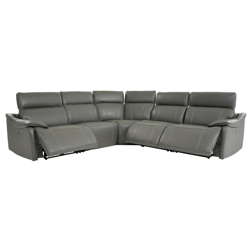 Austin Dark Gray Leather Power Reclining Sectional  alternate image, 3 of 9 images.