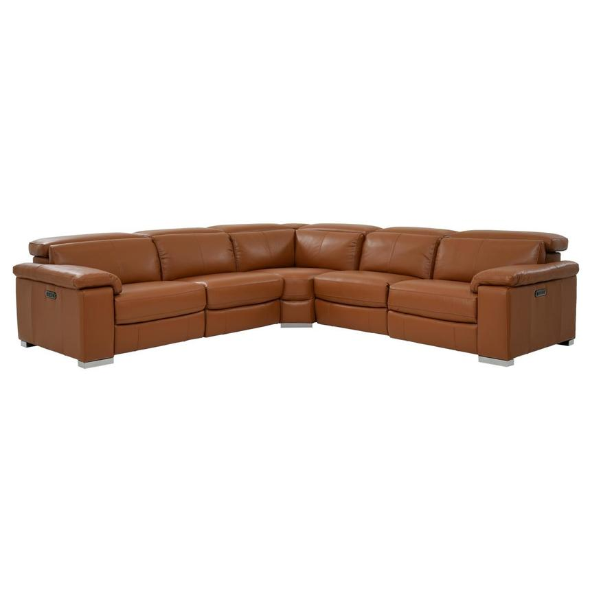 Charlie Tan Power Motion Leather Sofa w/Right & Left Recliners  main image, 1 of 9 images.