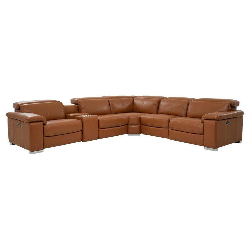 Charlie Tan Power Motion Leather Sofa w/Right & Left Recliners  main image, 1 of 10 images.