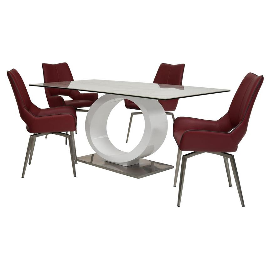 Fenti/Kalia Red 5-Piece Formal Dining Set  main image, 1 of 15 images.