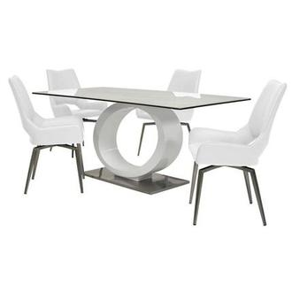 Fenti/Kalia White 5-Piece Formal Dining Set