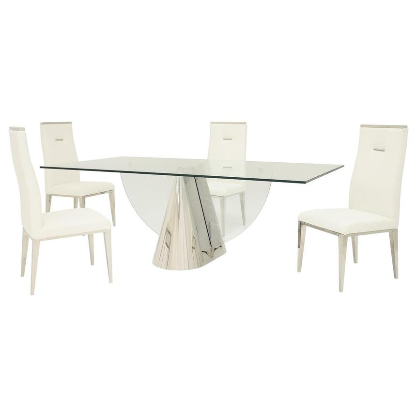 Extreme/Hyde White 5-Piece Formal Dining Set  main image, 1 of 15 images.