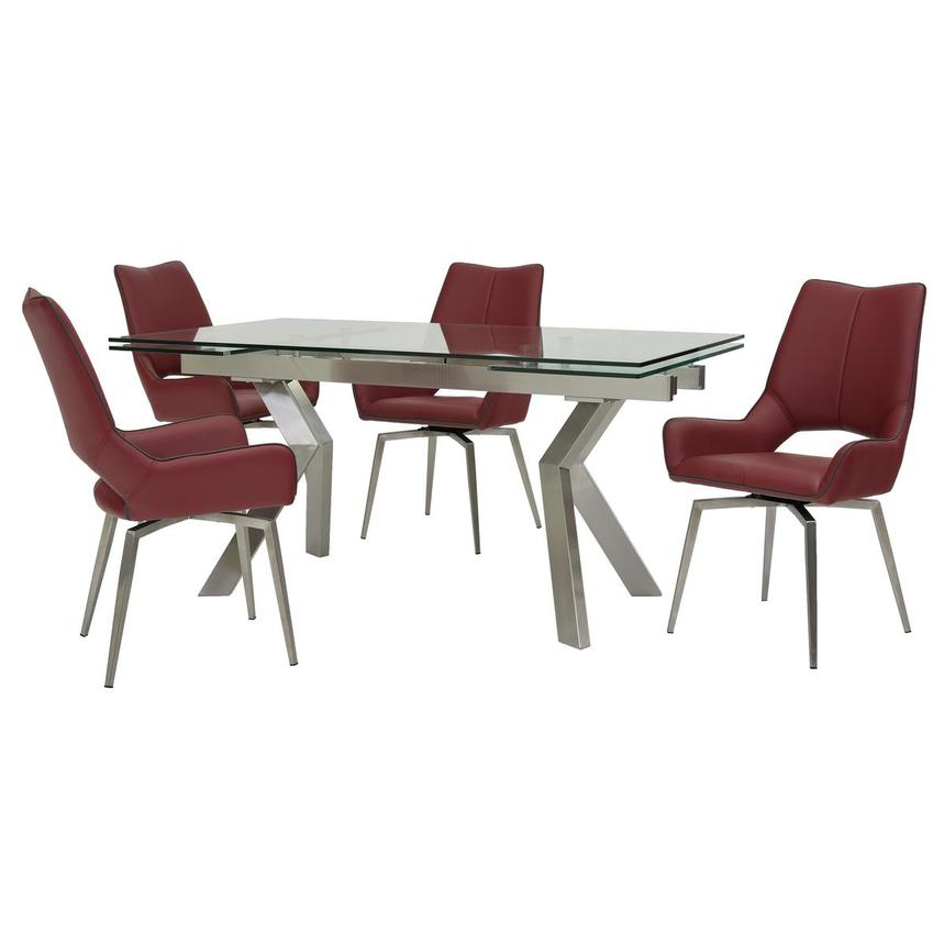 Lynne Clear/Kalia Red 5-Piece Formal Dining Set  main image, 1 of 15 images.