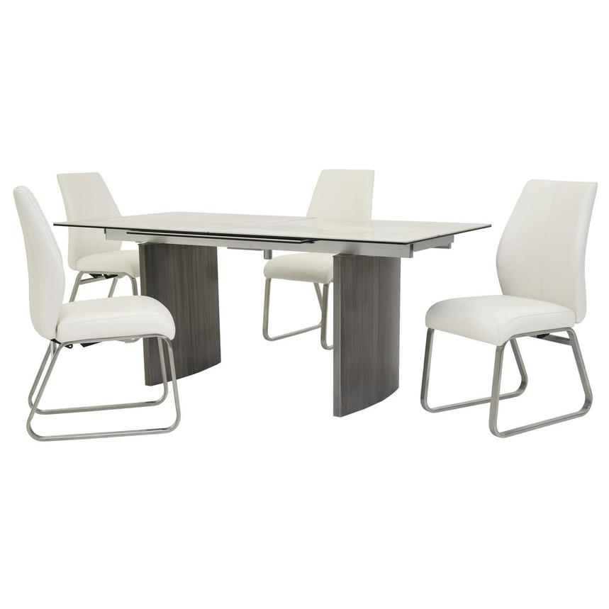 Rome White 5-Piece Formal Dining Set  main image, 1 of 16 images.