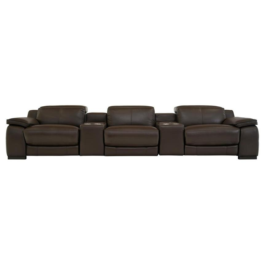 Gian Marco Brown Home Theater Leather Seating
