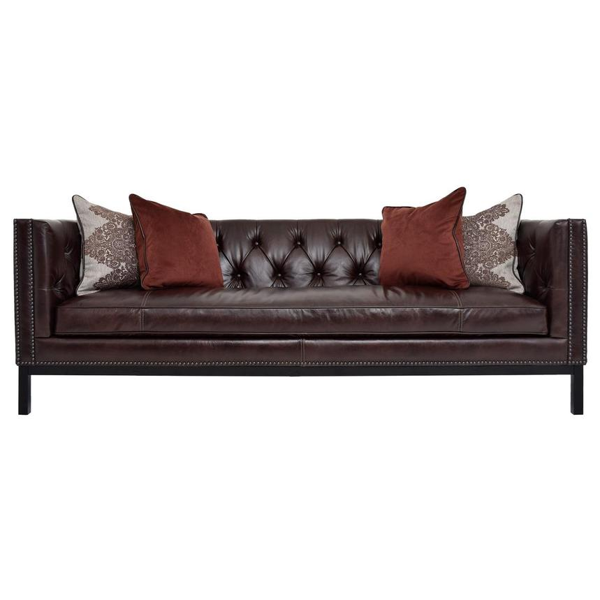 Sophia Brown Leather Sofa  main image, 1 of 7 images.