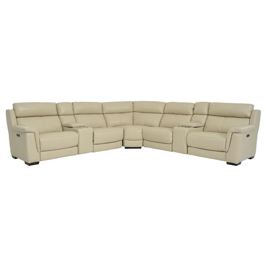 Amanda Cream Power Motion Leather Sofa w/Right & Left Recliners  main image, 1 of 11 images.