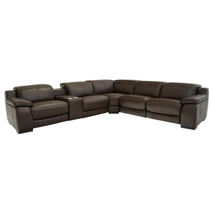 Gian Marco Brown Power Motion Leather Sofa w/Right & Left Recliners