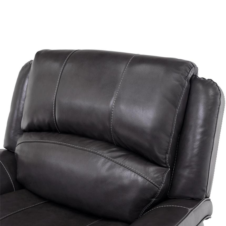 Raleigh Gray Power Motion Leather Recliner  alternate image, 6 of 9 images.