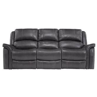 Raleigh Gray Power Motion Leather Sofa