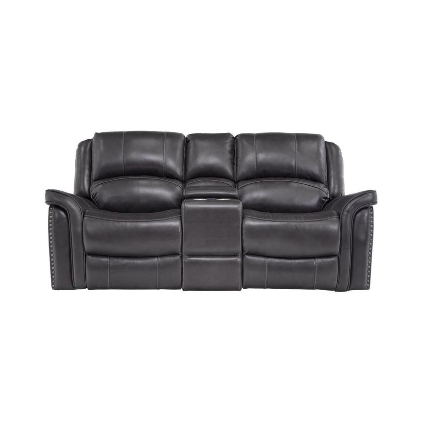 Raleigh Gray Power Motion Leather Sofa w/Console  main image, 1 of 11 images.