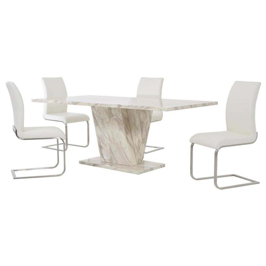 Paisley White 5-Piece Formal Dining Set  main image, 1 of 14 images.