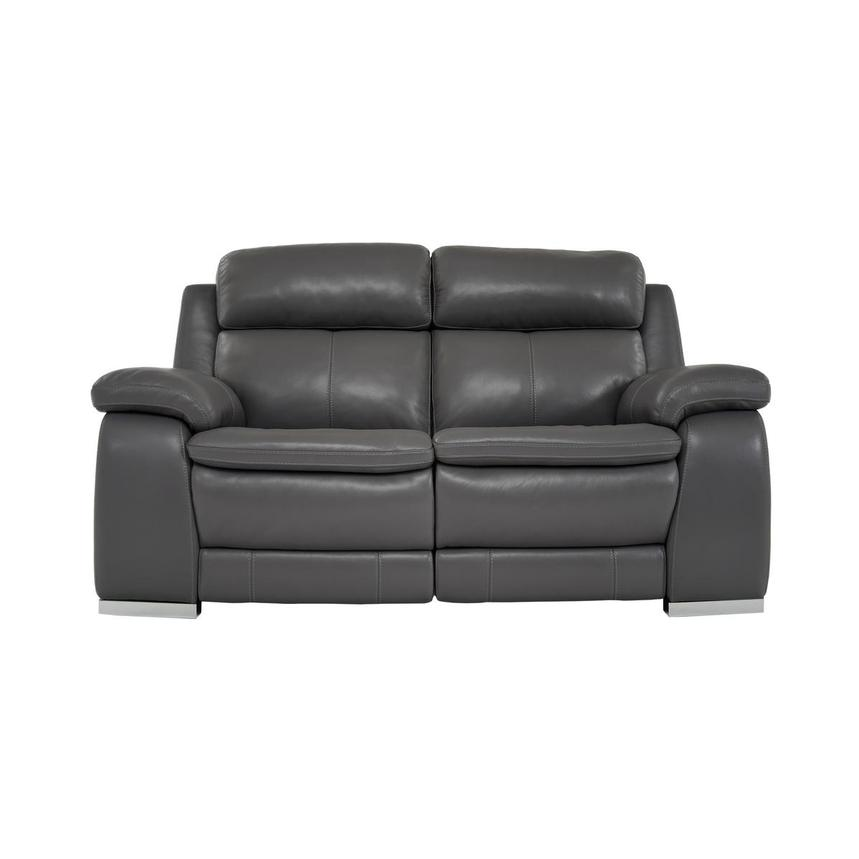 Matteo Gray Power Motion Leather Loveseat