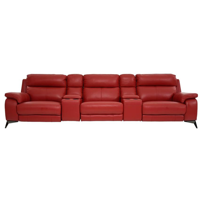Barry Red Home Theater Leather Seating