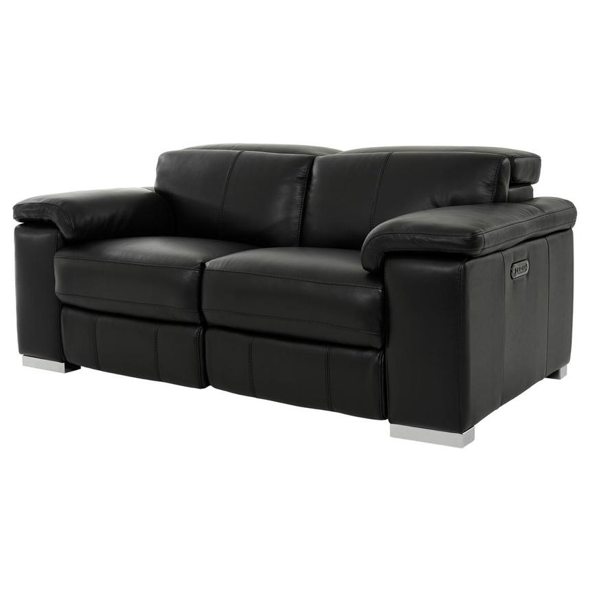Charlie Black Leather Power Reclining Loveseat  alternate image, 2 of 12 images.