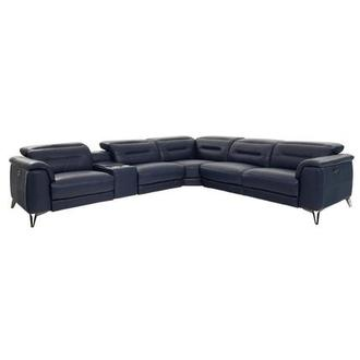 Anabel Blue Power Motion Leather Sofa w/Right & Left Recliners