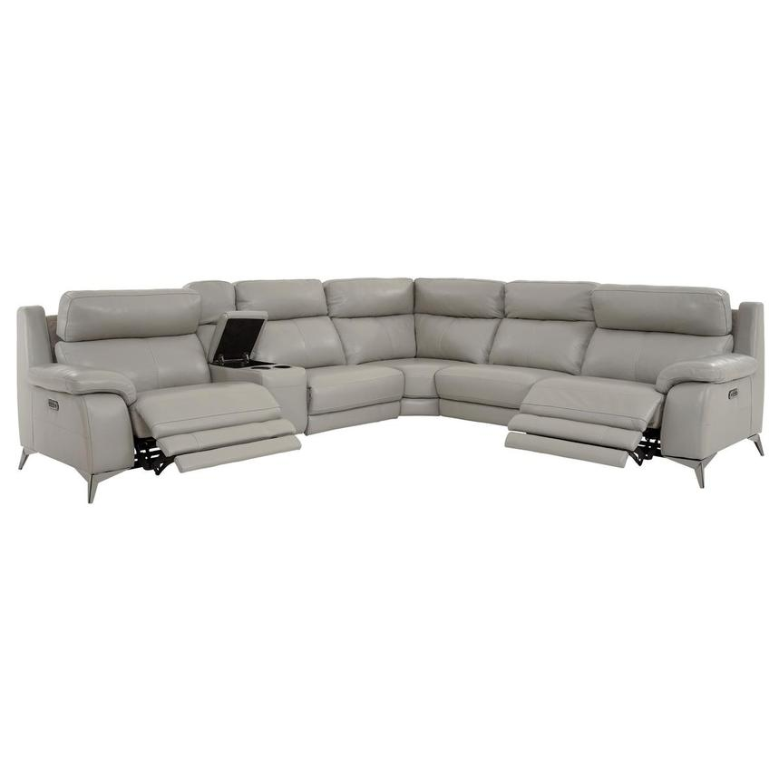 Barry Gray Leather Power Reclining Sectional  alternate image, 4 of 14 images.