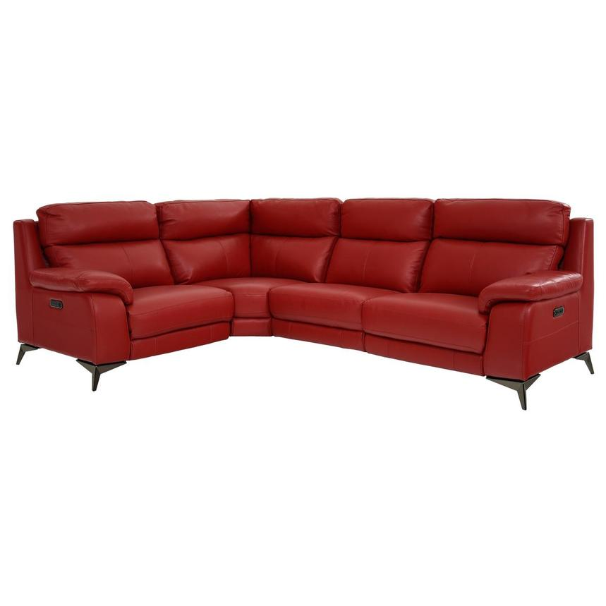 Barry Red Power Motion Leather Sofa w/Right & Left Recliners