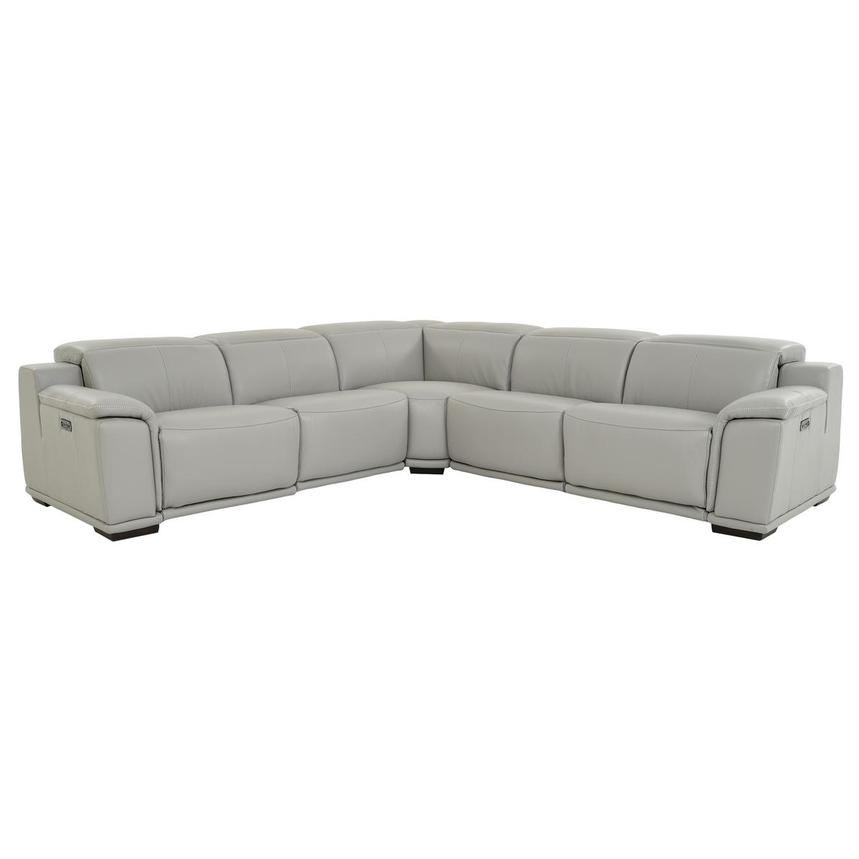 Davis 2.0 Light Gray Leather Power Reclining Sectional  main image, 1 of 10 images.