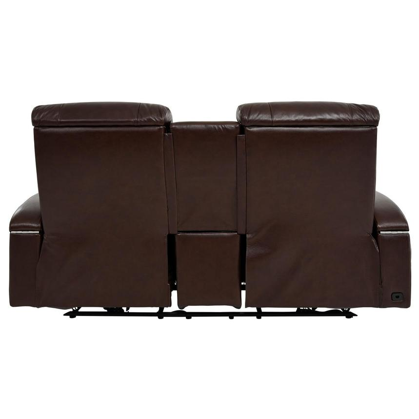 Gio Brown Leather Power Reclining Sofa w/Console  alternate image, 5 of 14 images.