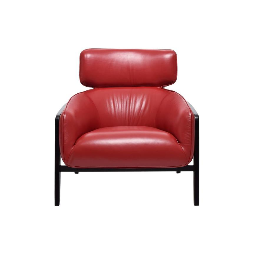 Irene II Red Leather Accent Chair  main image, 1 of 8 images.