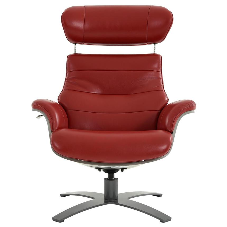 Enzo II Red Leather Swivel Chair  alternate image, 2 of 13 images.