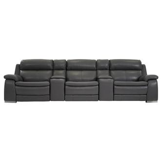 Matteo Gray Home Theater Leather Seating