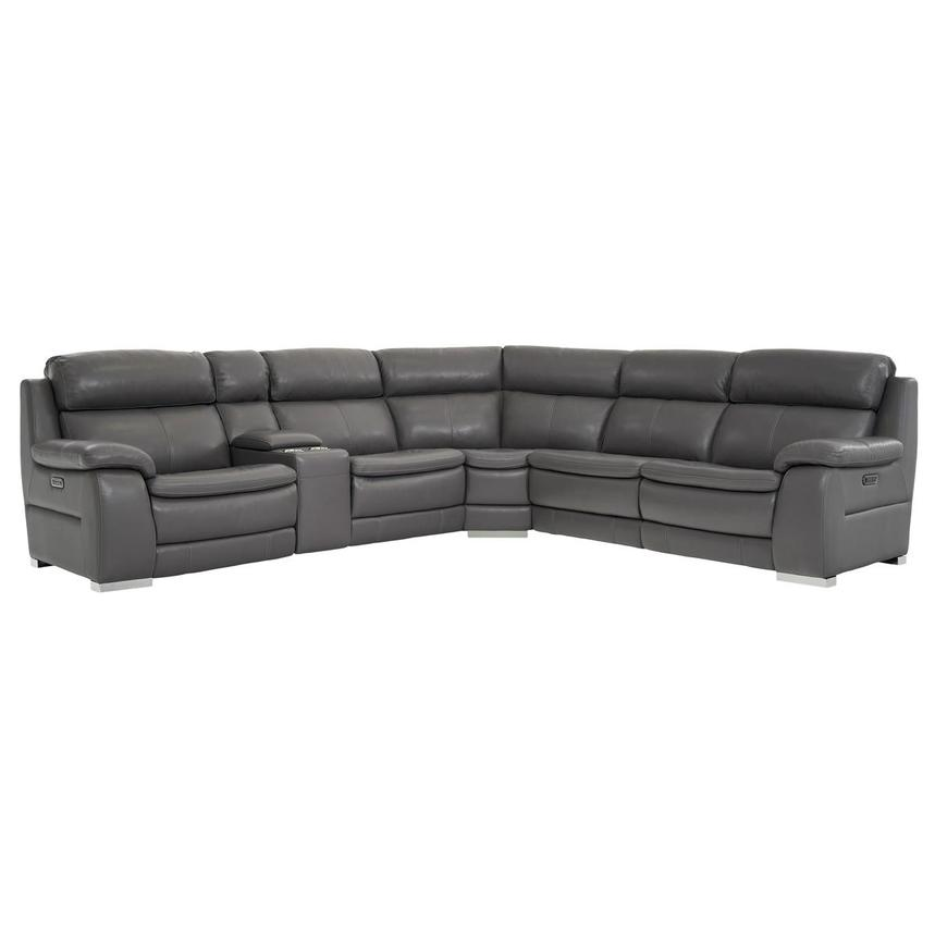 Matteo Gray Power Motion Leather Sofa w/Right & Left Recliners  main image, 1 of 11 images.