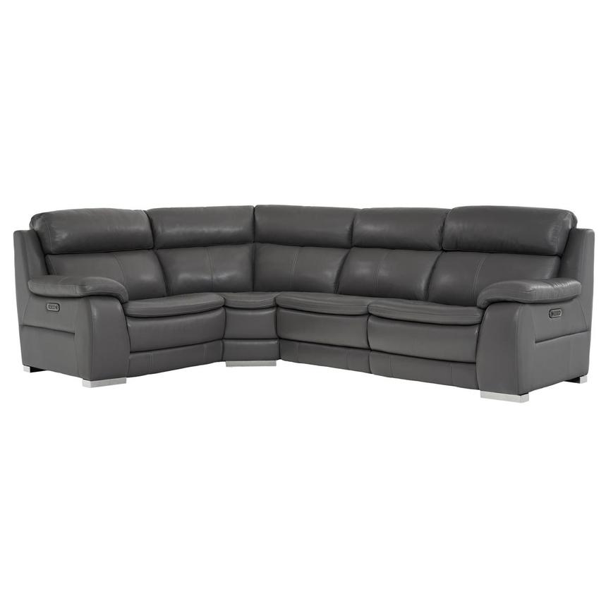 Matteo Gray Power Motion Leather Sofa w/Right & Left Recliners  main image, 1 of 10 images.