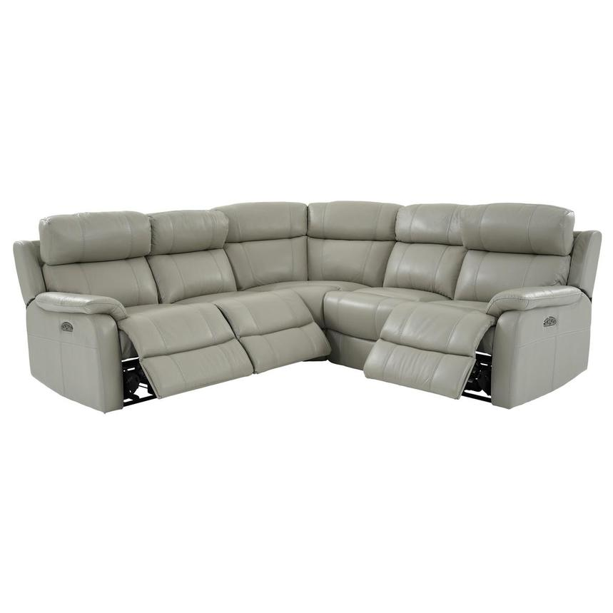 Ronald 2.0 Gray Leather Power Reclining Sectional  alternate image, 2 of 8 images.