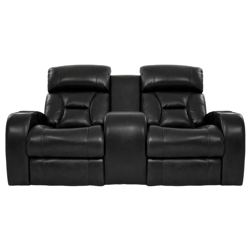 Gio Black Power Motion Leather Sofa w/Console  main image, 1 of 13 images.