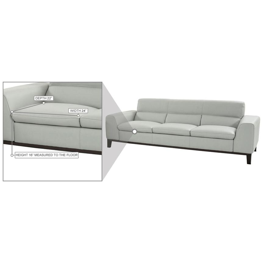 Milani Gray Leather Sofa  alternate image, 7 of 8 images.