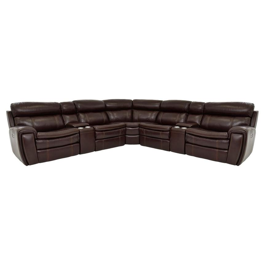 Napa Burgundy Leather Power Reclining Sectional  main image, 1 of 9 images.