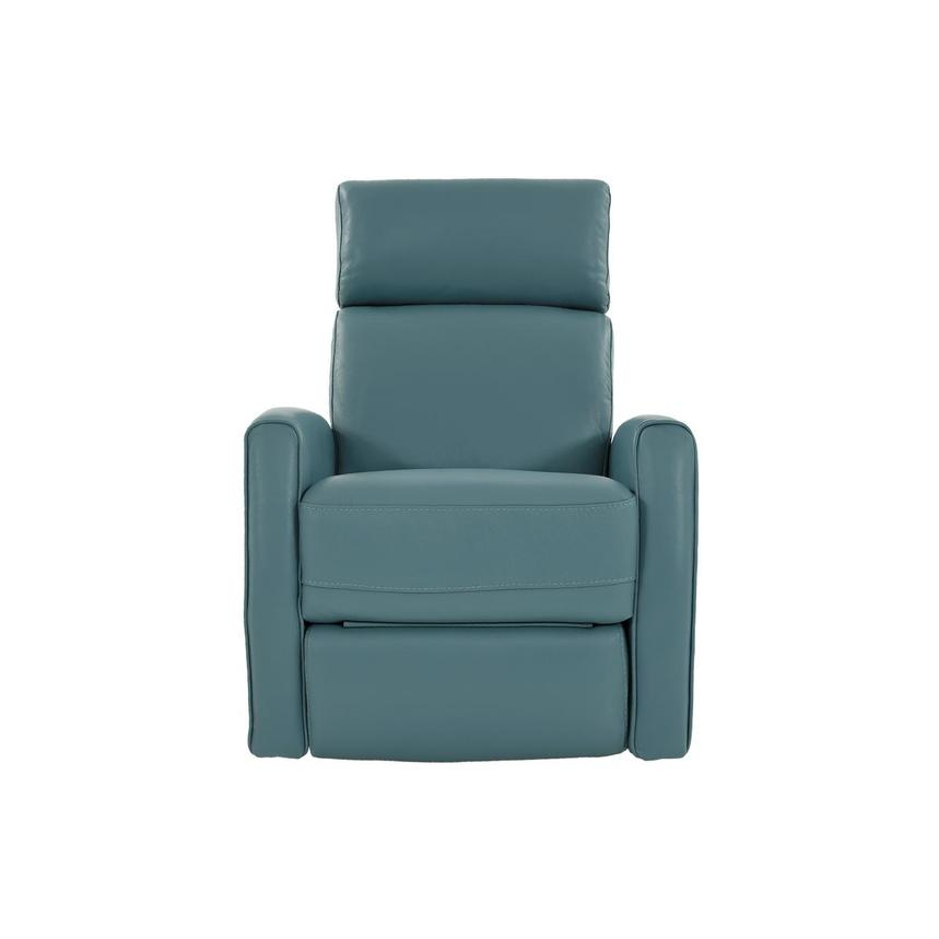 Lucca Blue Leather Power Recliner  main image, 1 of 9 images.