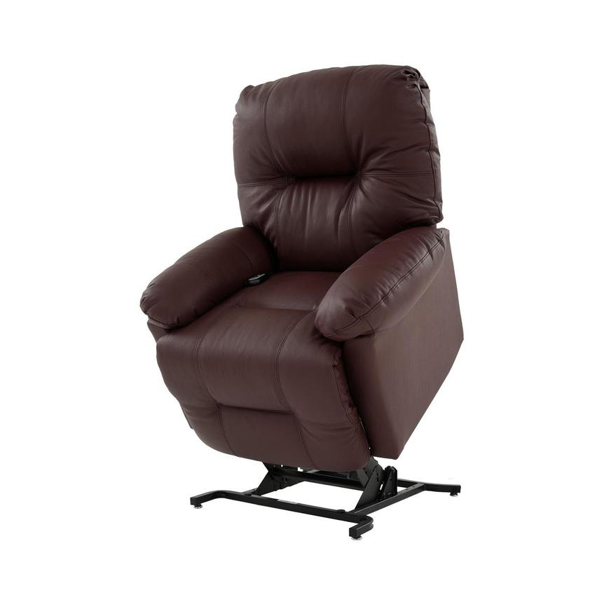 Wynette Burgundy Leather Power Lift Recliner  main image, 1 of 9 images.