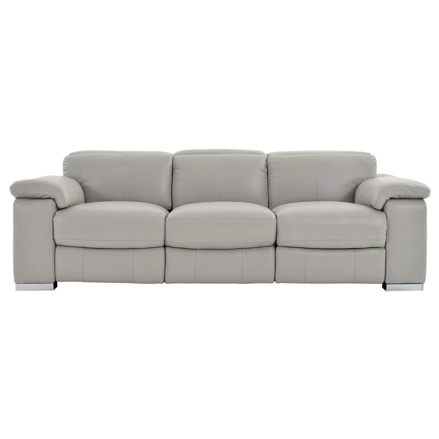 Charlie Light Gray Leather Power Reclining Sofa  main image, 1 of 11 images.