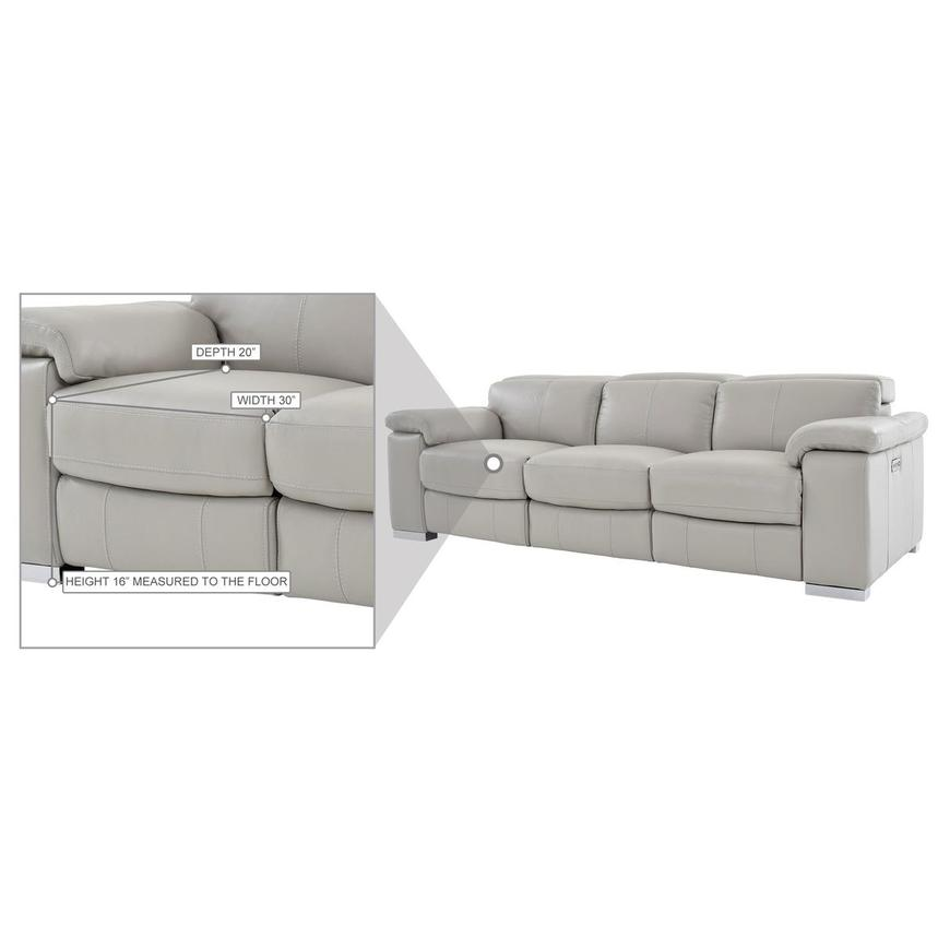 Charlie Light Gray Leather Power Reclining Sofa  alternate image, 11 of 11 images.