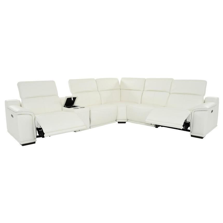 Davis 2.0 White Leather Power Reclining Sectional  alternate image, 2 of 11 images.