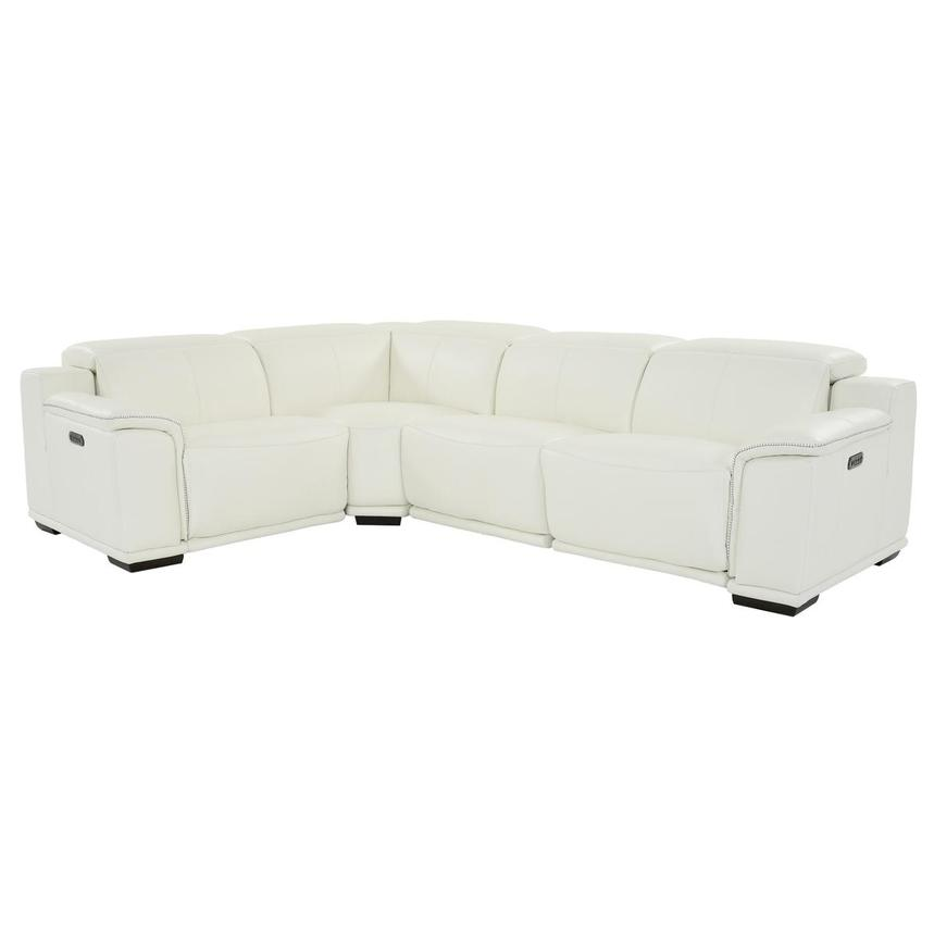 Davis 2.0 White Leather Power Reclining Sectional  main image, 1 of 10 images.