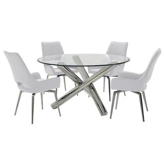 Addison II/Kalia White 5-Piece Dining Set