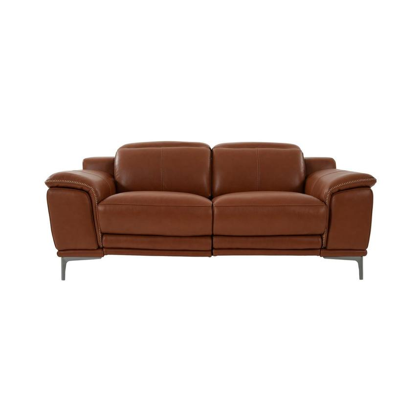 Katherine Tan Leather Power Reclining Loveseat  main image, 1 of 12 images.
