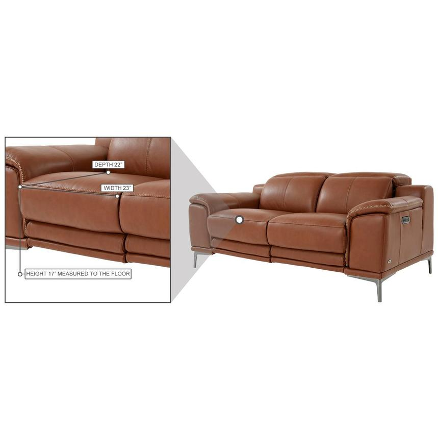Katherine Tan Leather Power Reclining Loveseat  alternate image, 11 of 12 images.