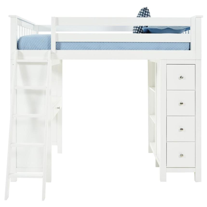 Haus White Twin Loft Bed W Desk Chest